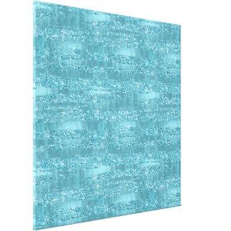 Aqua Glam Faux Glitter Stripes Canvas Print