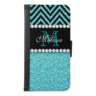 AQUA GLITTER BLACK CHEVRON MONOGRAM