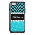 Aqua Glitter Black Chevron OtterBox iPhone 6 Case