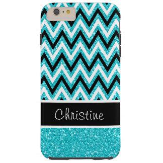 Aqua Glitter Chevron Tough iPhone 6 Plus Case