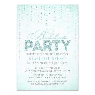 Aqua Glitter Look Bachelorette Party Invitation