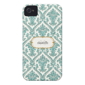Aqua Glitter Look Damask Personalized Designer iPhone 4 Cases
