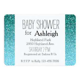 Aqua Glitter Ombre baby shower Card