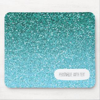 Aqua Glitter Ombre Mouse Pad