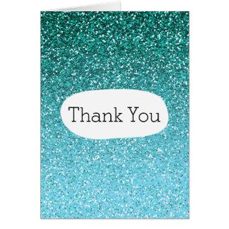 Aqua Glitter Ombre Thank You Card