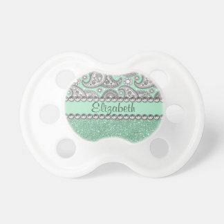 Aqua Glitter Paisley Rhinestone Print Pattern Pacifier