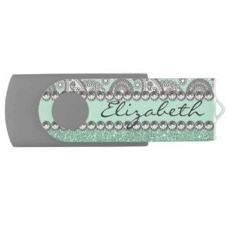 Aqua Glitter Paisley Rhinestone Print Pattern Swivel USB 2.0 Flash Drive