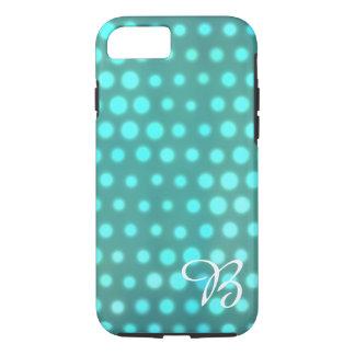 Aqua glow blue dots monogrammed iPhone 7 case