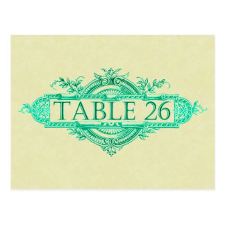 Aqua Glow Vintage Wedding Reception Table Numbers Postcard