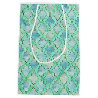 Aqua gold and Green Maroccan pattern Medium Gift Bag