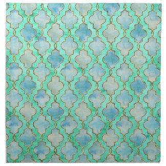 Aqua gold and Green Maroccan pattern Napkin