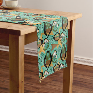 Aqua, Gold, Black and Green Fifties Style | Retro Short Table Runner