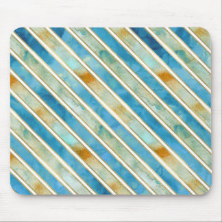 Aqua Gold Bliss Stripes Mouse Pad