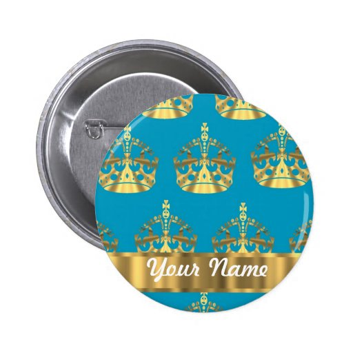 Aqua & gold crown pattern buttons