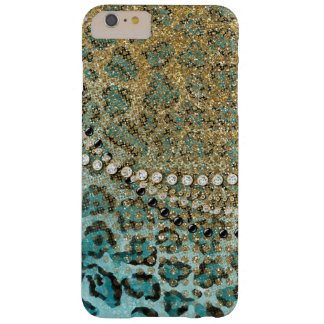 Aqua Gold Leopard Animal Print Glitter Look Jewel Barely There iPhone 6 Plus Case