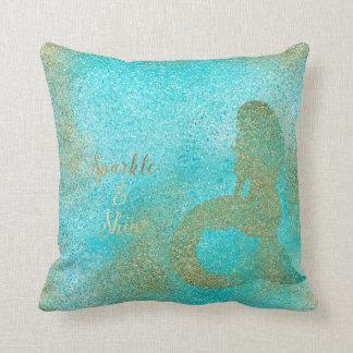 Aqua Gold Mermaid Sparkle Cushion