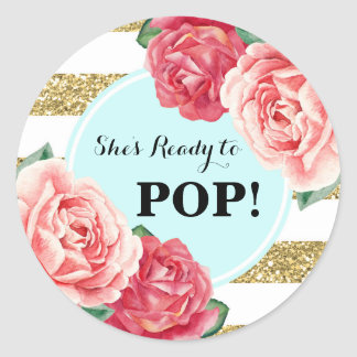 Aqua Gold Pink Floral Baby Shower Ready to Pop Classic Round Sticker