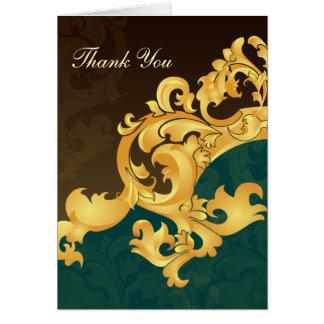aqua gold wedding ThankYou Cards