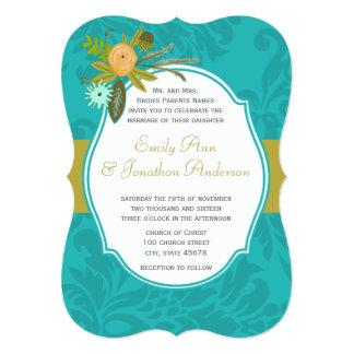 Aqua Golden Lime Chartreuse Damask Wedding Invite