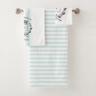 Aqua Grain Sack Custom Family Crest Towel Set