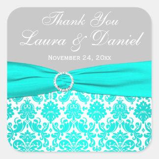 Aqua, Gray, and White Damask Wedding Favor Sticker
