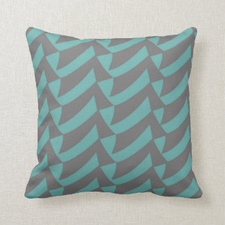Aqua Gray Checks Throw Pillow