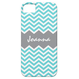 Aqua gray chevron pattern iPhone 5 case