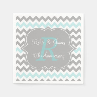 Aqua Gray Chevron Personalized Anniversary Napkins Disposable Napkin