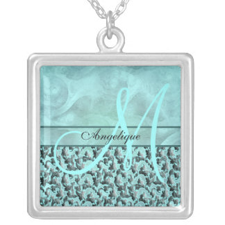 aqua gray damask floral wedding bridal gifts custom jewelry