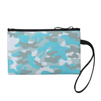 Aqua Gray White Camo Design Coin Purse