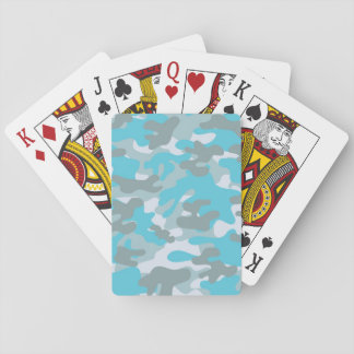 Aqua Gray White Camo Design Playing Cards