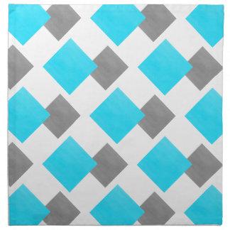 Aqua Gray White Geometric Pattern Napkin