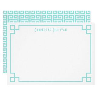Aqua Greek Key Border Personalised Stationery Card