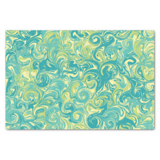 """Aqua, Green, and Yellow Marble Swirl Tissue Paper 10"""" X 15"""" Tissue Paper"""