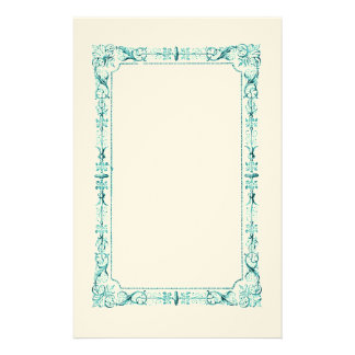 Aqua Green Fancy Frame Personalized Stationery