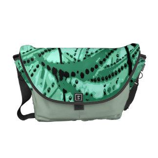 Aqua Green Fern Abstract Messenger Bag
