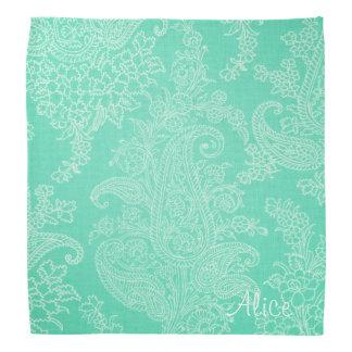 Aqua Green floral paisley damask Bandana