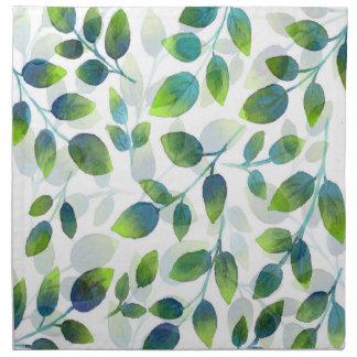 Aqua Green Leaf Pattern Napkin