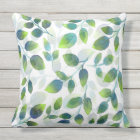 Aqua Green Leaf Pattern Pillow