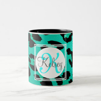 Aqua Green Leopard Print Monogram Two-Tone Coffee Mug