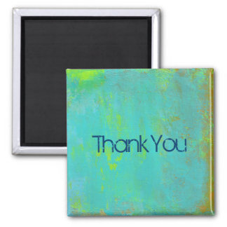 Aqua Green Lime and Brown Ochre Abstract Thank You Square Magnet