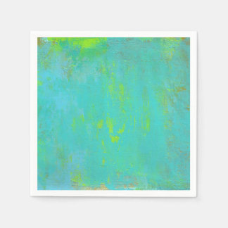 Aqua Green, Lime and Brown Ochre Grunge Abstract Disposable Serviette