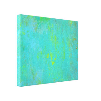 Aqua Green, Lime and Brown Ochre Grunge Abstract Gallery Wrapped Canvas