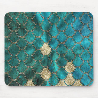 Aqua green Mermaidscales with gold glitter Mouse Pad