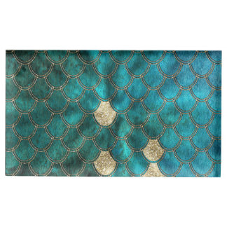 Aqua green Mermaidscales with gold glitter Table Card Holders