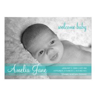 Aqua Green Modern Baby Announcement