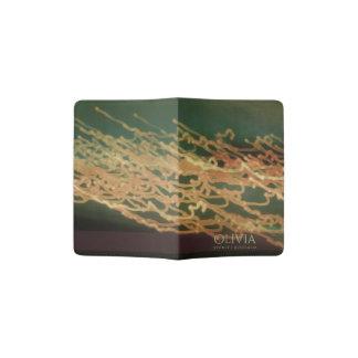 AQUA GREEN PEACH GRAPHIC BOHO LIGHTS  MONOGRAM PASSPORT HOLDER
