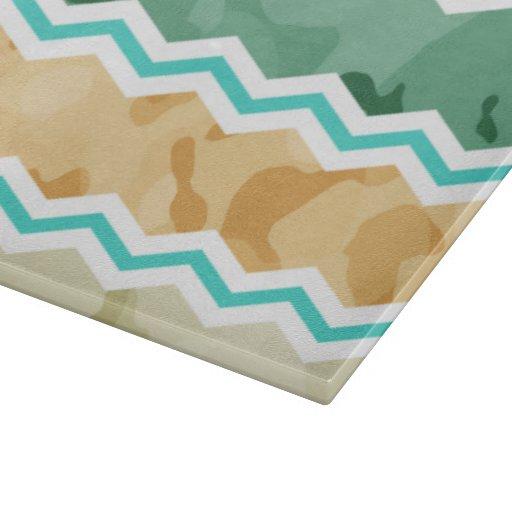 Aqua Green, Peach, & Tan Camo Chevron Cutting Board