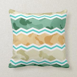 Aqua Green, Peach, & Tan Camo Chevron Pillows