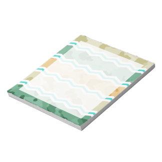 Aqua Green, Peach, & Tan Camo Chevron Scratch Pad
